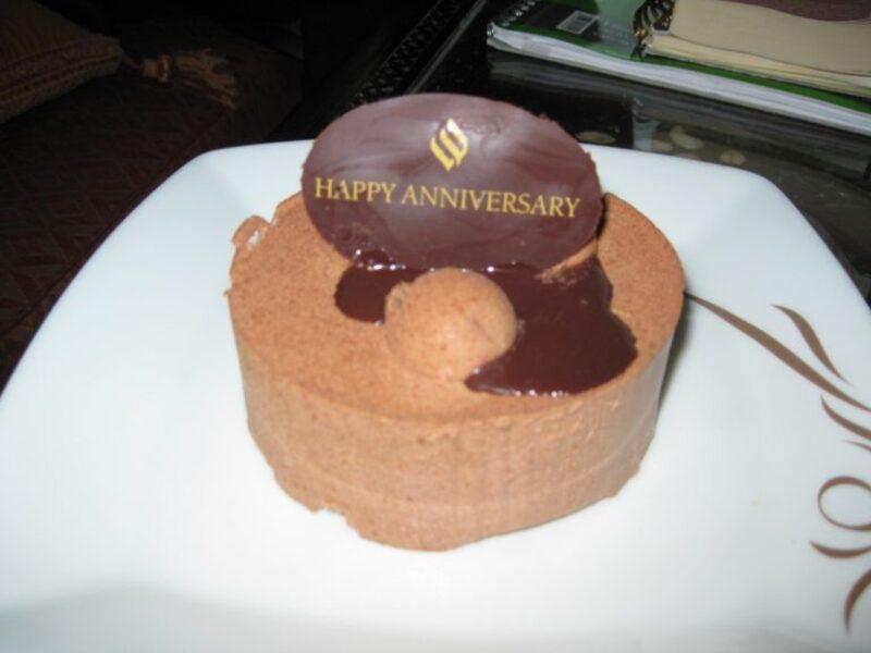Chocolate mousse anniversary cake