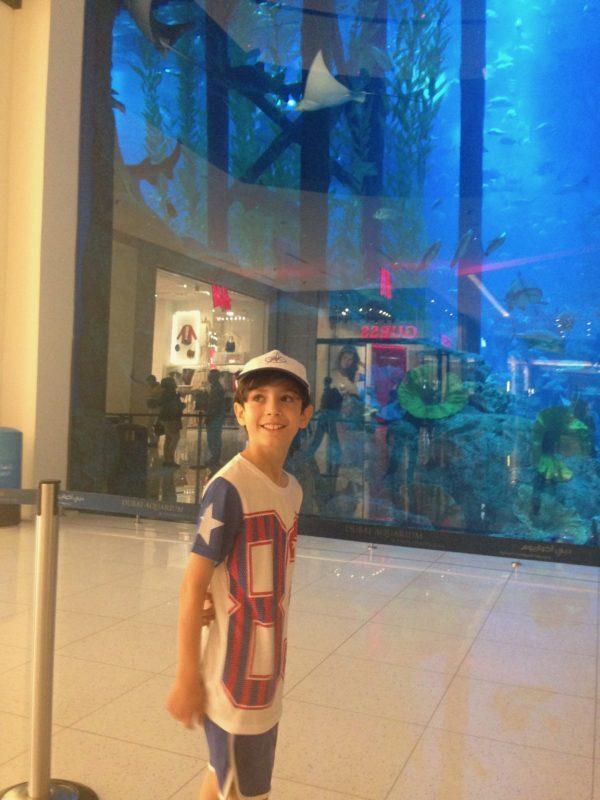 Lorenzo in front of the Dubai Aquarium