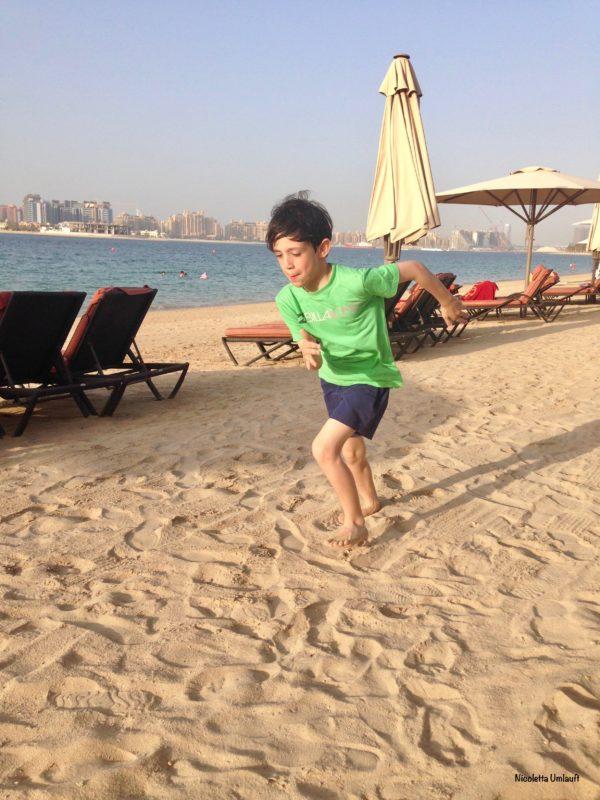 Lorenzo running on the hot sand